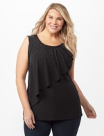 Rhinestone Ruffle Layer Shell Top - Black - Front