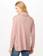 Cowl Neck Hi-Low Knit Top - Dusty Rose - Back
