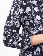 Long Sleeve Floral Knit Top with Lace Inset - Blue - Detail