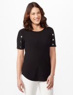 Three Button Crepe Tee Knit Top - Black - Front