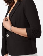 Cinched Sleeve One Button Faux Pocket Notch Collar Topper -  - Detail