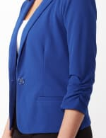 Cinched Sleeve One Button Faux Pocket Notch Collar Topper - Royal - Detail