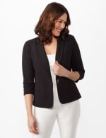 Cinched Sleeve One Button Faux Pocket Notch Collar Topper -  - Front