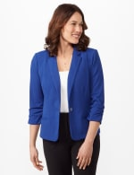 Cinched Sleeve One Button Faux Pocket Notch Collar Topper - Royal - Front