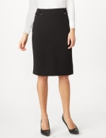 Faux Buckle Pencil Skirt - Black - Detail