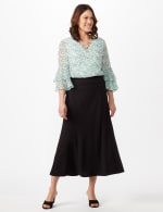 Long Flippy Skirt - Black - Front