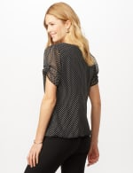 Short Sleeve Dotted Woven Top with Three Ring Chain - Black/White - Back