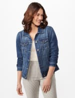 Long Sleeve Denim Jacket - Blue Wash - Front