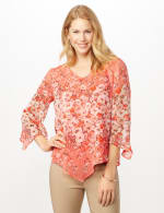 Floral Border V Hem Woven Top - Peach - Front