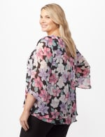 Double Layer Bright Floral Poncho - Multi - Back
