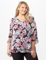 Double Layer Bright Floral Poncho - Multi - Front