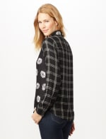 Long Sleeve Mixed Media Print Woven Top - Black/Grey - Back