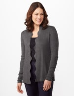 Long Sleeve Scalloped Cardigan - Heather Charcoal - Front