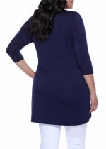 3/4 Sleeve Grommet Cardigan -  - Back
