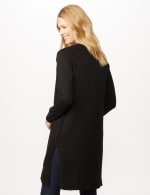 Long Sleeve Duster with Side Slits - Black - Back