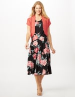 Floral Dress with Crochet Sweater -  - Front