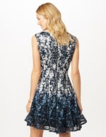 Sleeveless Printed Lace Fit and Flare Dress - Pearl/Navy - Back