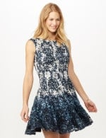 Sleeveless Printed Lace Fit and Flare Dress - Pearl/Navy - Front
