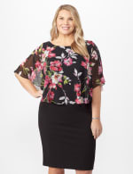 Solid Crepe Dress with Floral Cape - Fuschia - Front