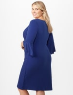 3/4 Wrap Dress with Side Ruching -  - Back