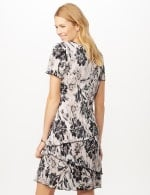 Floral Bodre Tier Dress - White/Black - Back