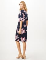 Pink Floral Dress with Side Ruch - Navy/ Mauve - Back
