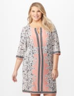 Placed ITY Puff Print Dress- Plus -  - Front