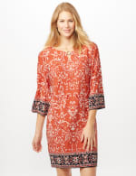 Scroll Puff ITY Border Print Dress -  - Front