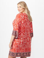 Scroll Puff ITY Border Print Dress Plus - Orange - Back
