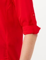 Roll Tab Button Front Woven Top Shirt - Red - Detail