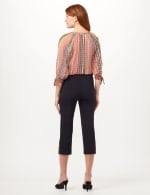 Pull-On Lace Trim Crop Pants - Navy - Back
