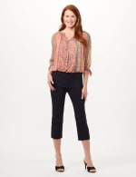 Pull-On Lace Trim Crop Pants - Navy - Front