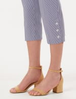 Striped Pull-On Crop Pants - Blue/White - Detail