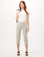 Striped Pull-On Crop Pants - White/Black - Front