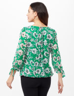 Tie Sleeve Clip Dot Floral Bubble Top - Green - Back