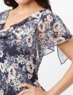 Floral Chiffon Drape Neck Hanky Hem Dress - Navy/Mauve - Detail