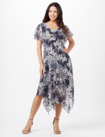 Floral Chiffon Drape Neck Hanky Hem Dress - Misses - Navy/Mauve - Front