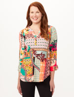 Roll Tab Popover Knit Top - Multi - Front