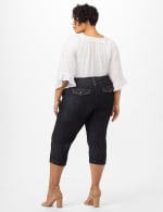 Cuffed Crop Denim Pants with Double Button Waist - Rinse Wash - Back