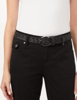 Belted Crop Pants with Cargo Pockets - Black - Detail