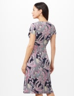 Paisley Seam Detail Dress - Navy/Pink - Back