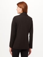 Shawl Collar Open Front Jacket - Black - Back