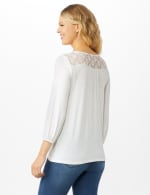 Crochet Trim Tie Front Knit Top - Sugar Swizzle - Back
