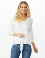 Crochet Trim Tie Front Knit Top - Sugar Swizzle - Front