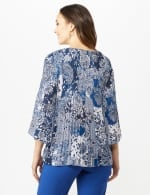 Paisley Box Pleat Blouse - Blue/Ivory - Back