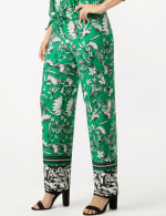 Knit Pull on Print Pant - Green/Black/Ivory - Detail