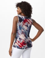 Tie Dye Mesh Ruffle Knit Top - Misses - Indigo - Back