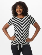 Mitered Stripe Tie Front Knit Top - Grey/Black - Front