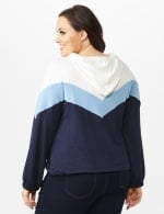 Color Block Self Tie Hoodie - Plus - Blue - Back