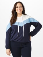 Color Block Self Tie Hoodie - Plus - Blue - Front